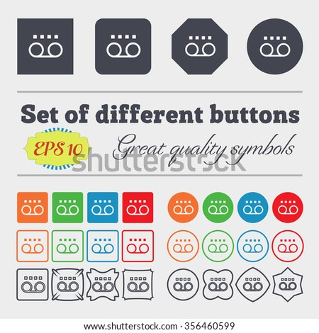 audio cassette icon sign. Big set of colorful, diverse, high-quality buttons. illustration - stock photo