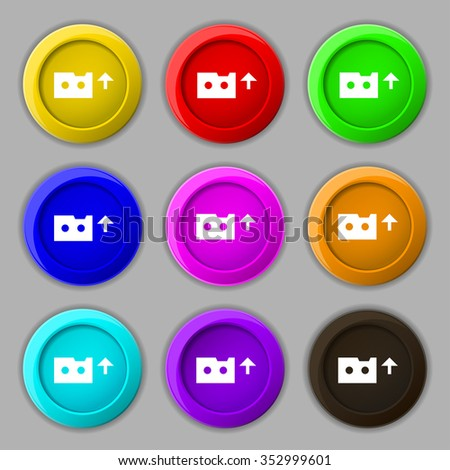 audio cassette icon sign. symbol on nine round colourful buttons. illustration - stock photo