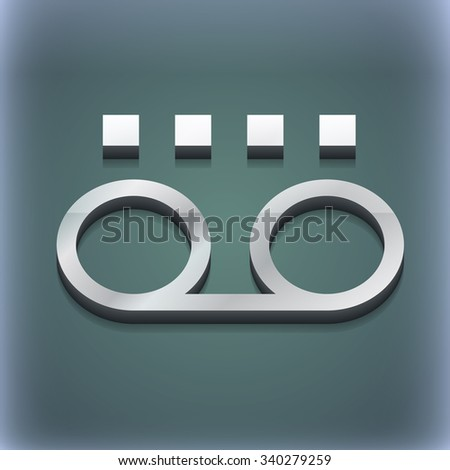 audio cassette icon symbol. 3D style. Trendy, modern design with space for your text illustration. Raster version - stock photo
