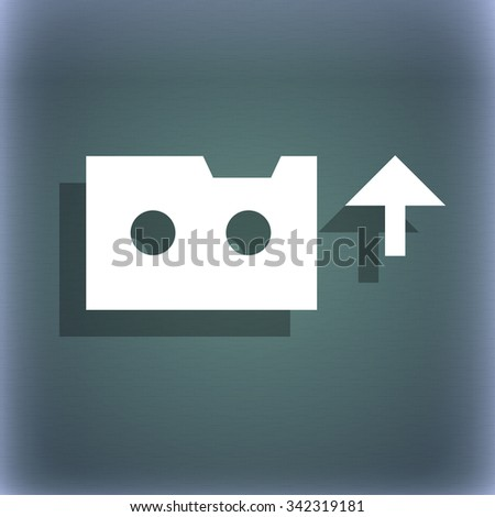 audio cassette icon symbol on the blue-green abstract background with shadow and space for your text. illustration - stock photo