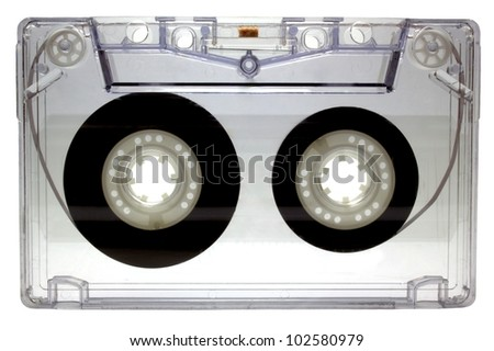 Audio cassette isolated on white background - stock photo