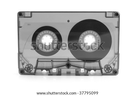 audio cassette on a white background - stock photo