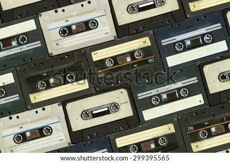 Audio cassette. Retro background - stock photo