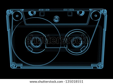 Audio cassette tape (3D xray blue transparent isolated on black background) - stock photo