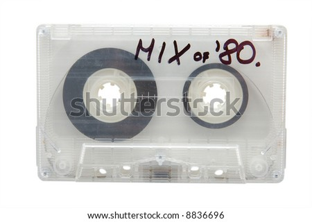 Audio cassette tape, isolated in white - stock photo