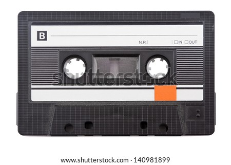 Audio cassette tape isolated on white background. - stock photo