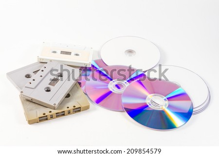 audio cassette tapes and CD DVD - stock photo
