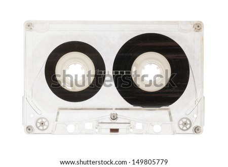 Audio cassette top view isolated on a white background