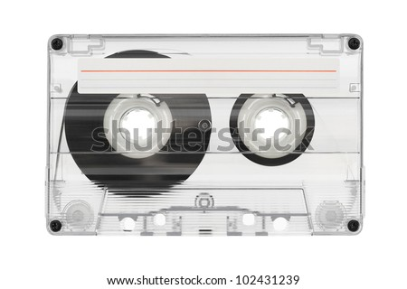 Audio cassette with label isolated on white background - stock photo