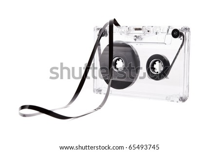Audio cassette with stretched tape, isolated on white - stock photo