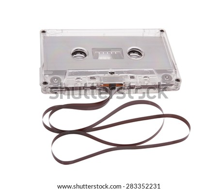 Audio cassette with tape tangle on white background