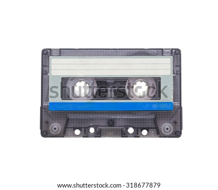 audio cassettes close-up on a white background. sound recording and music. obsolete isolated - stock photo