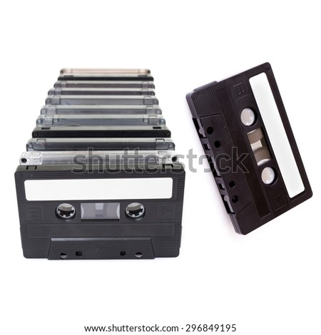 Audio Cassettes stacked - stock photo
