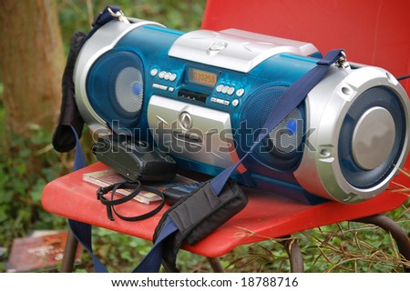 audio cd and casette player - stock photo