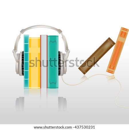 audio concept illustration with headphones and books. raster illustration