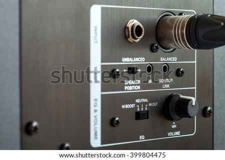 audio connection control panel active studio monitor, xlr connection. - stock photo