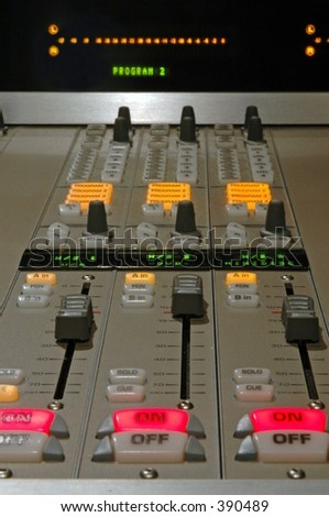 Audio console detail - stock photo