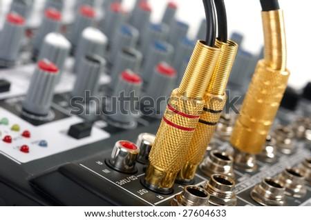 Audio control console - stock photo