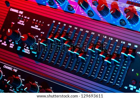 Audio equalizer in bright light - stock photo