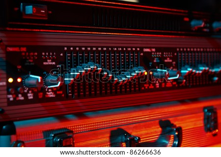 Audio equalizer in color light - stock photo