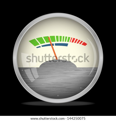 Audio Gauge, VU Meter on black, bitmap copy. - stock photo