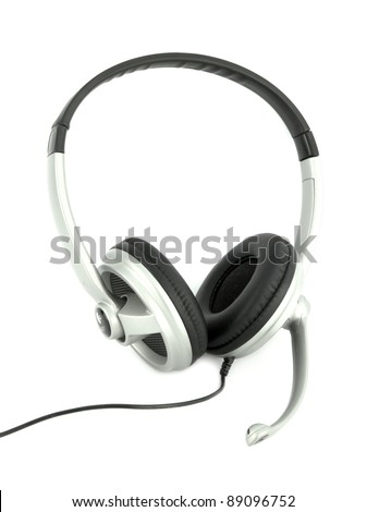 Audio headset with a micro (clipping path) - stock photo