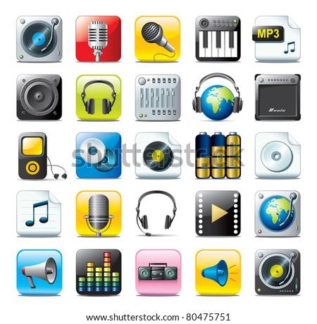 audio icon set - stock photo