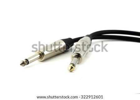 Audio jack connector on a white background - stock photo
