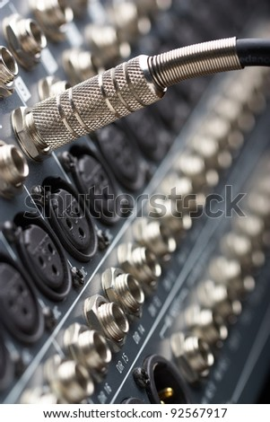 Audio jack  it is connected to a sound mixer - stock photo