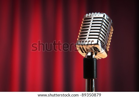 Audio microphone against the background - stock photo