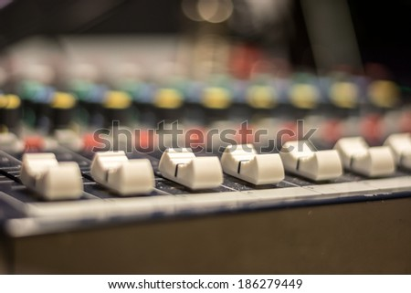 audio mixer, buttons and crossfaders