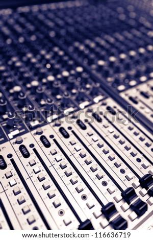 Audio mixing board shot - stock photo
