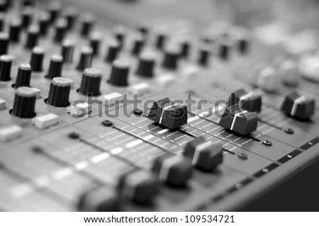 Audio mixing console.