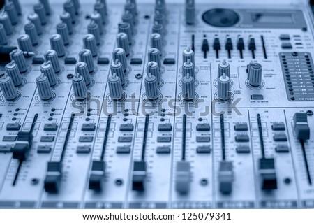 Audio mixing console. - stock photo