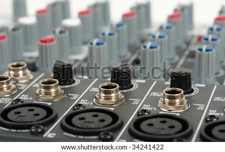 Audio mixing console - stock photo