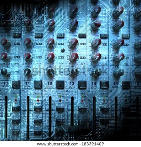 Audio mixing console closeup - music concept, studio shot - stock photo