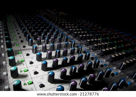 Audio mixing deck in hard light