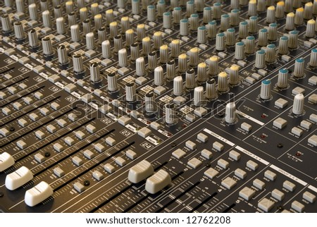 Audio Mixing Sound Board close-up - stock photo