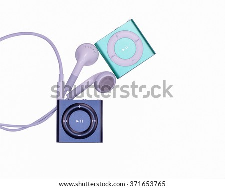audio player isolated on white - stock photo
