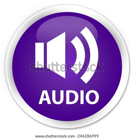 Audio purple glossy round button - stock photo