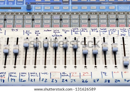 Audio sound mixer panel in concert - stock photo