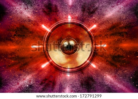Audio speaker and party lights background - stock photo