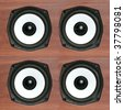 Audio speaker array pattern, four loudspeakers - stock photo