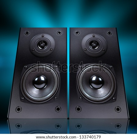 Audio speaker in  case isolated on black background, - stock photo