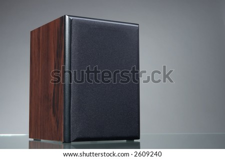 Audio speaker on the gray background with reflection