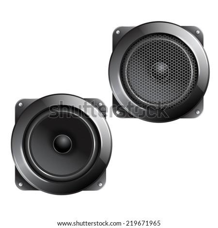 Audio speaker subwoofer music system isolated on white background  illustration. - stock photo