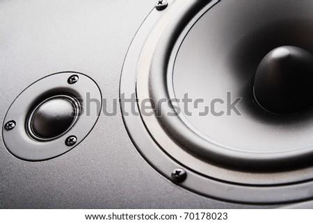 Audio speaker. The musical equipment. Close-up - stock photo