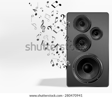 Audio speaker with flying out nones and treble clef. Music background. Studio monitor. Subwoofer, front view - stock photo
