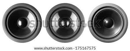 Audio speakers, isolated - stock photo