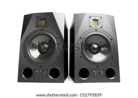 audio speakers, isolated on white - stock photo